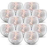 Volens Round Silver Votive Candle Holders, Mercury Glass Tealight Candle Holder Set of 12