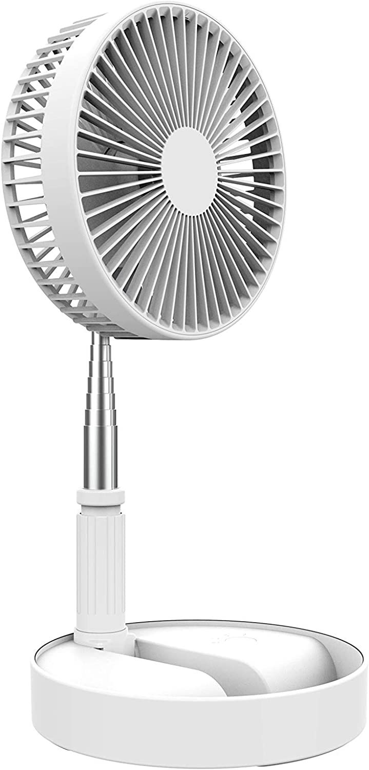 Desk and table fan, Air Circulator Fan Portable Travel Mini Fans Battery Operated or USB Powered,Adjustable Height from 14.2 inch to 3.3ft as Pedestal stand floor Fan, 4 Speed Settings White