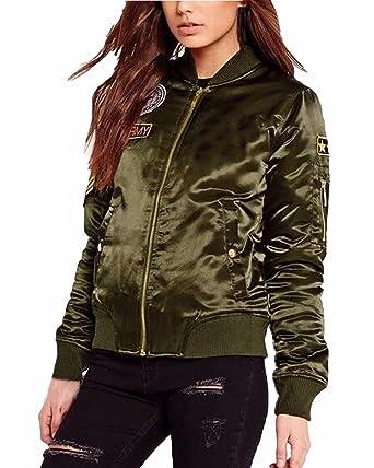Auxo Classique Femme Automne Veste Matelassée Zippé Bomber Court Punk  Jacket Coat Cardigan Vert armée FR 9f1d07e3bf2