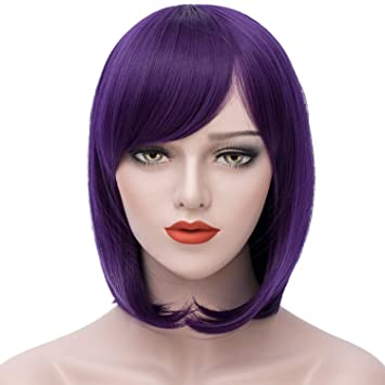 Short Bob Wigs Purple Wig Women Cosplay Wig Straight Costume Wigs Girls Wigs  Oblique Bangs Wigs 12. c74251230