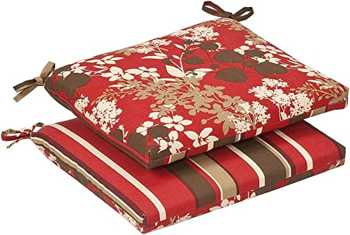 Pillow Perfect Indoor/Outdoor Red/Brown Floral/Striped Reversible Seat Cushion