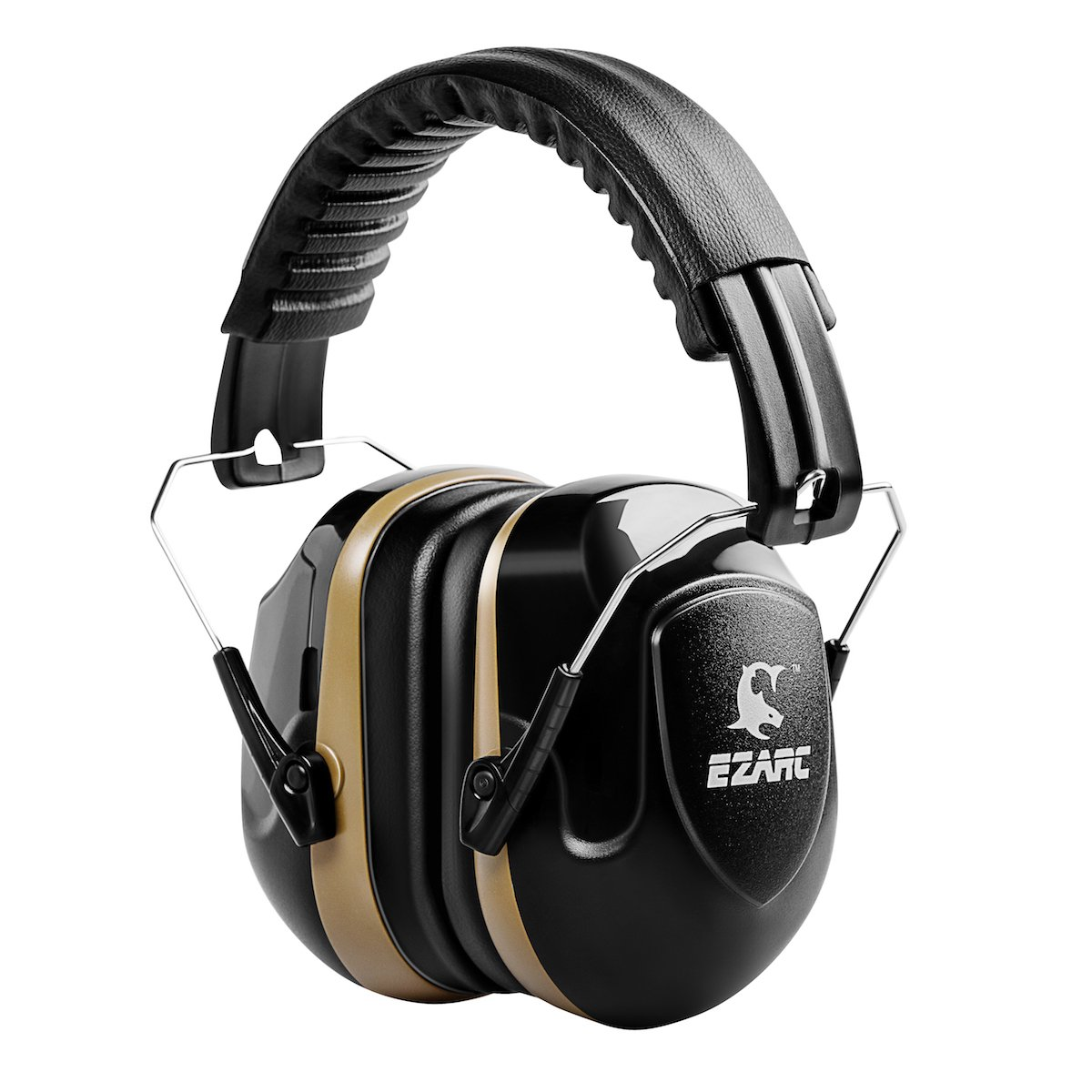 EZARC Safety Ear Muffs 34dB for Shooting Sports Events - Industrial Ear Protection Plant Working Hearing Protection Adjustable Headband Ear Defenders - Noise Reduction Earmuffs, Black Brown