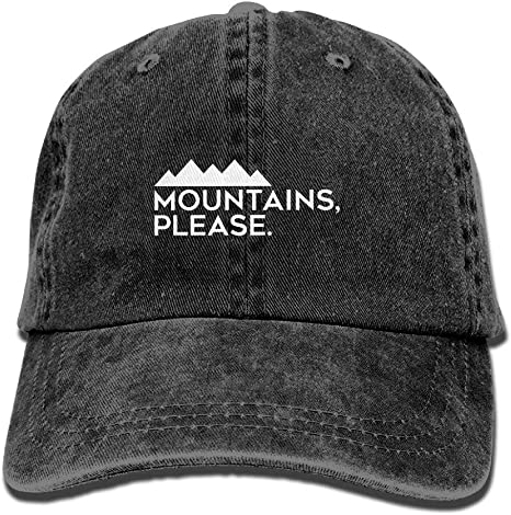 Outdoor Camping and Climbing Adjustable Baseball Caps Denim Hats Cowboy Sport Outdoor Dkvmkrvla Mountains Please