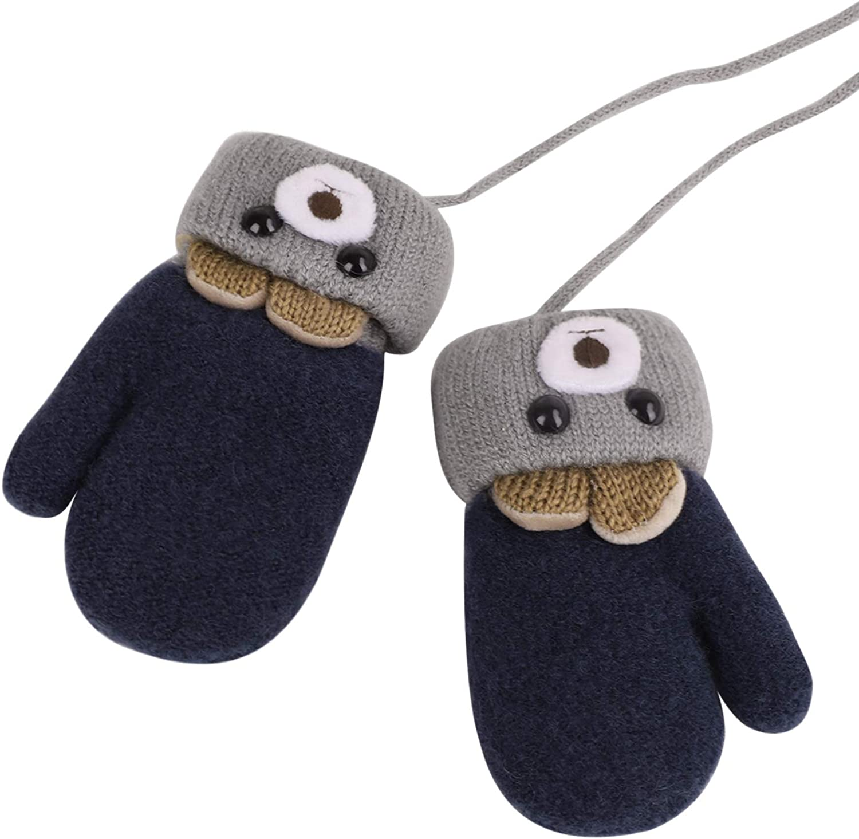 Kids Winter Knitted Gloves Cute Cartoon Bear Hang Neck Mittens Newborn Baby Warm Mitten Thicken Cashmere with Rope Mitten Thermal Full Finger Wrist Glove Boy Girl 0-3Y Gift