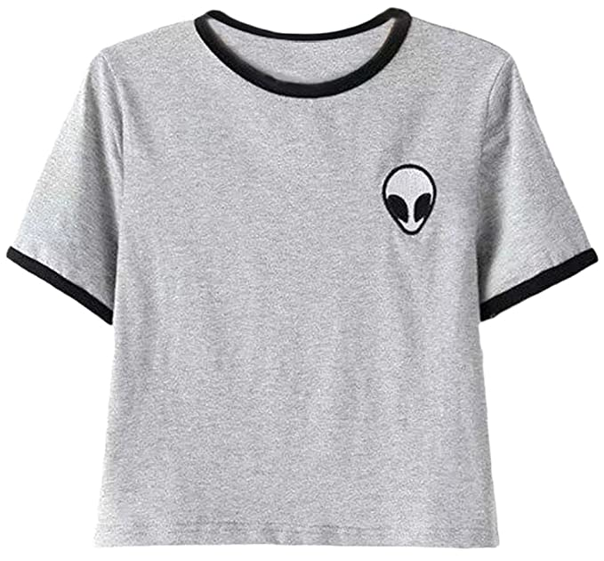 4b79e56e OLIPHEE Women's Alien Print Crop Top T-Shirt Short Sleeves Casual Blouse  Small Grey