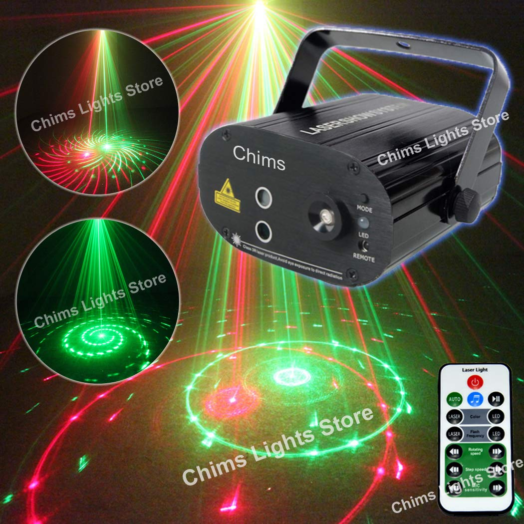 Stage Laser DJ Lights 3 Lens Red Green 12 Patterns Light Projector Bright Blue LED Stage DJ Party Music Xmas Show Lamp Sound Active Remote Control