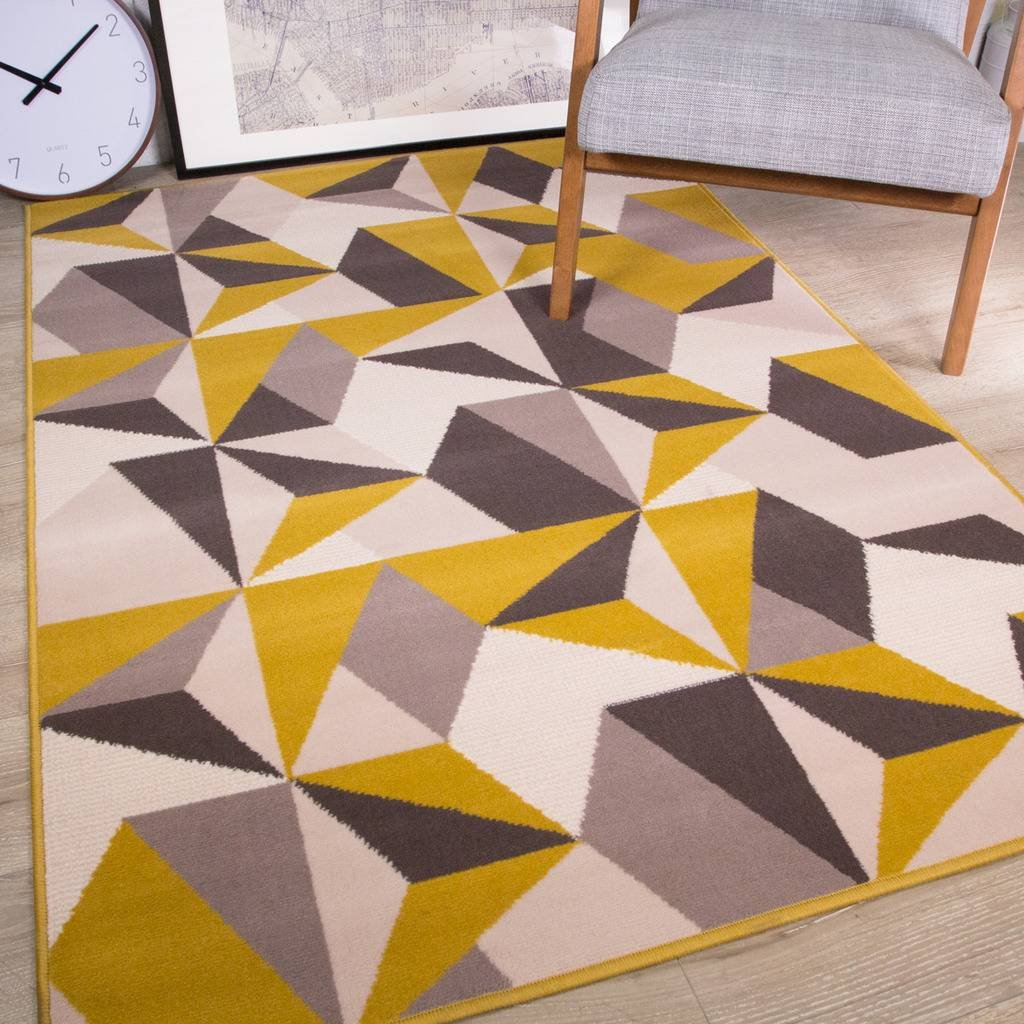 Milan Ochre Mustard Yellow Grey Beige Geometric Kaleidoscope Traditional Living Room Rug The Rug House