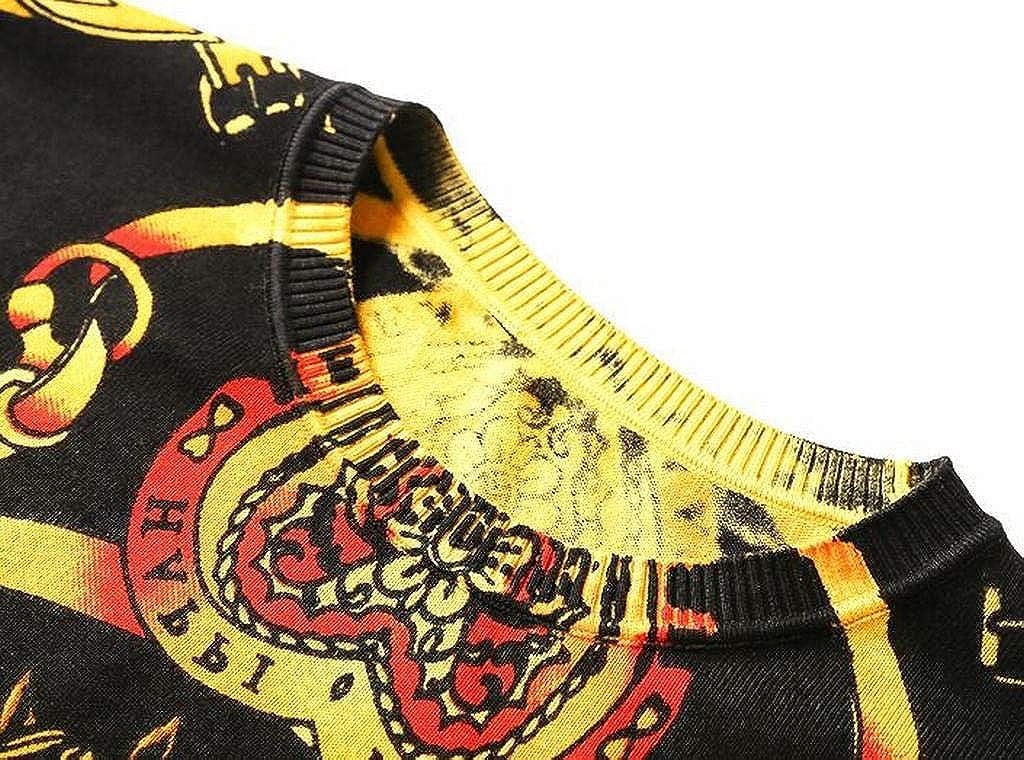 Jofemuho Mens Knit Slim Fit Long Sleeve Crewneck Casual Print Pullover Sweater