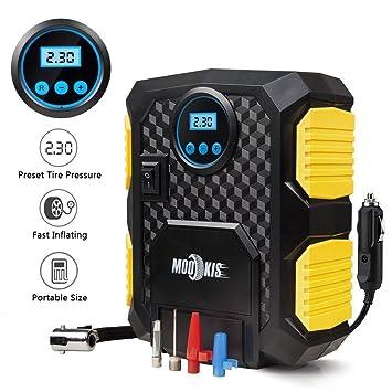 Compresor de aire, de Mookis. Para hinchar ruedas de coche. Bomba de aire portátil con pantalla digital. 10,3 bar. 12 V CC: Amazon.es: Coche y moto