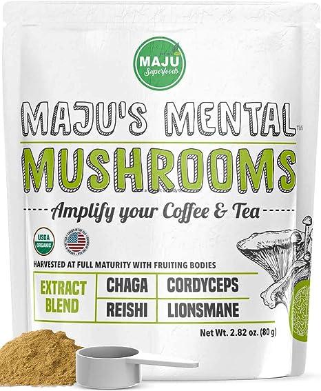 MAJU's Mental Mushroom Powder Extract, Strong Lions Mane, Chaga, Reishi, Cordyceps, Fruiting Bodies for Coffee, Immune System Booster, Nootropic Brain Supplement, Memory, Organic Mushrooms