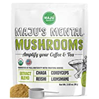 MAJU's Mental Mushroom Powder Extract, Strong Lions Mane, Chaga, Reishi, Cordyceps, Fruiting Bodies for Coffee, Immune System Booster, Nootropic Brain Supplement, Memory, Organic Mushrooms