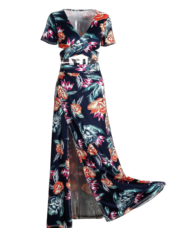 e94fa8df1c0228 Glamaker Women s V Neck Crop Top Split Maxi Dress Set 2 Pieces Print Outfits  Dress at Amazon Women s Clothing store