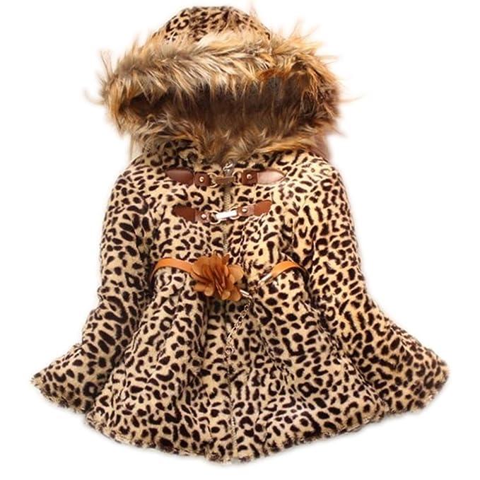 Bebé niñas Cute Funda de piel sintética leopardo sudaderas con capucha abrigo niños invierno cálido chaqueta