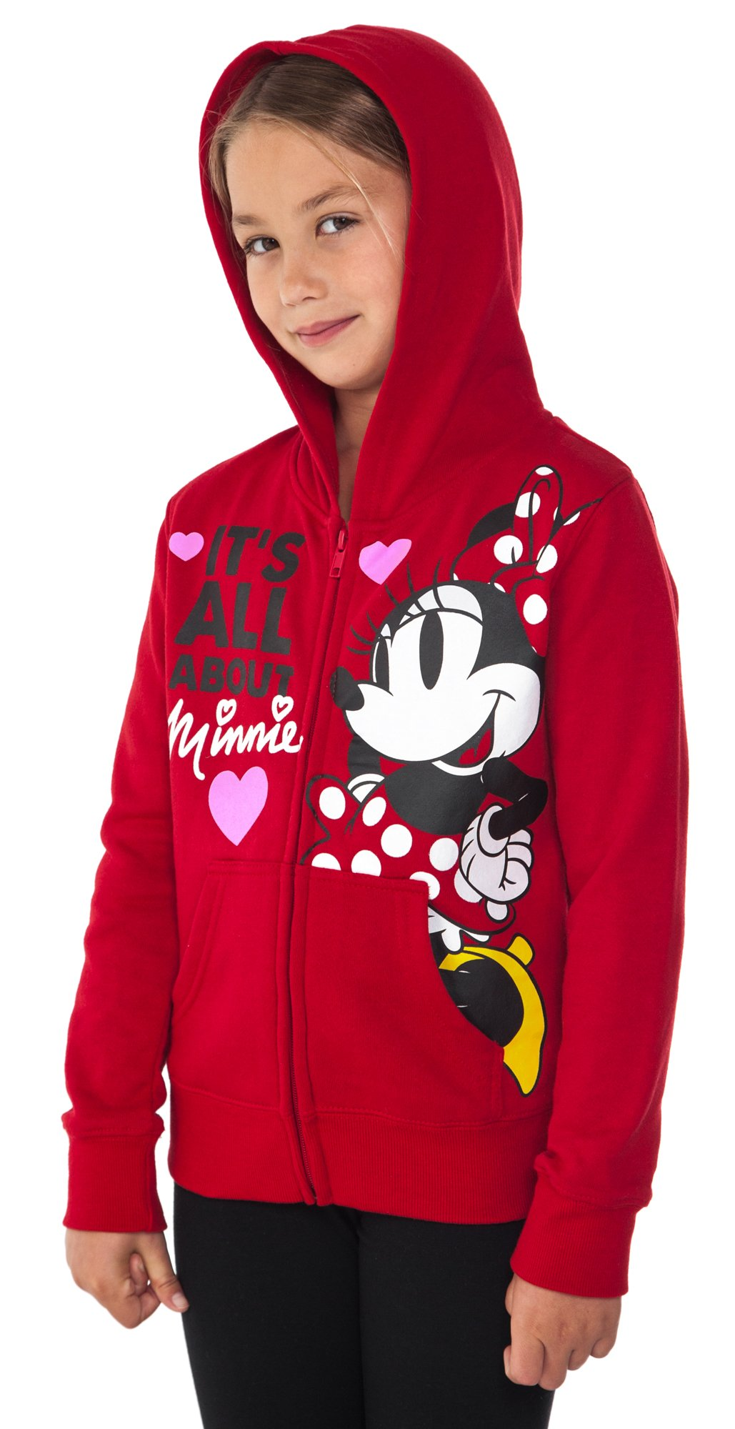 Disney Minnie Mouse Girl's Hoodie Zipper Sweatshirt Print Red (Large (10/12))