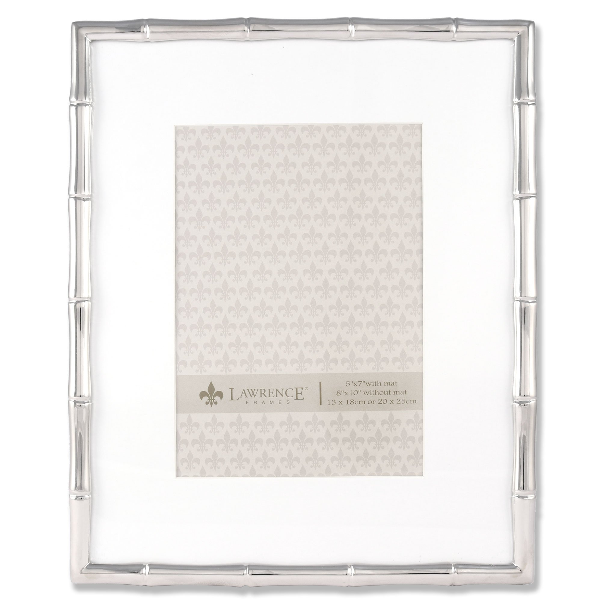 Lawrence Frames 710180 5 by 7-Inch Silver Metal Bamboo Picture Frame, 8 by 10-Inch Matted by Lawrence Frames