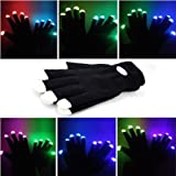 Guanti Lampeggianti Glow 7 Mode LED Rave Light Finger Lighting Mitt Nero - Taglie per Bambini