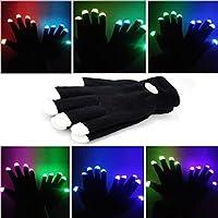 Guanti Lampeggianti Glow 7 Mode LED Rave Light Finger Lighting Mitt Nero - Taglie per Bambini