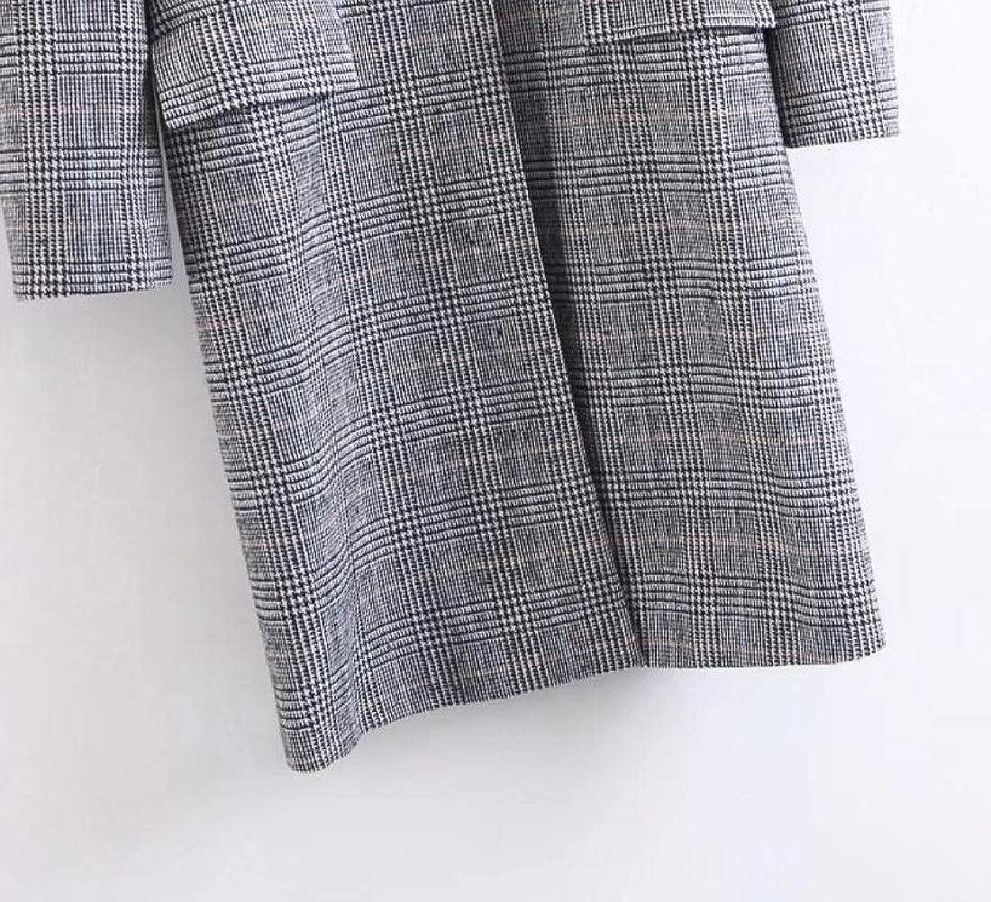 BSTBUWIN Womens Topcoat Houndstooth Wool Blended Outwear Woolen Jacket