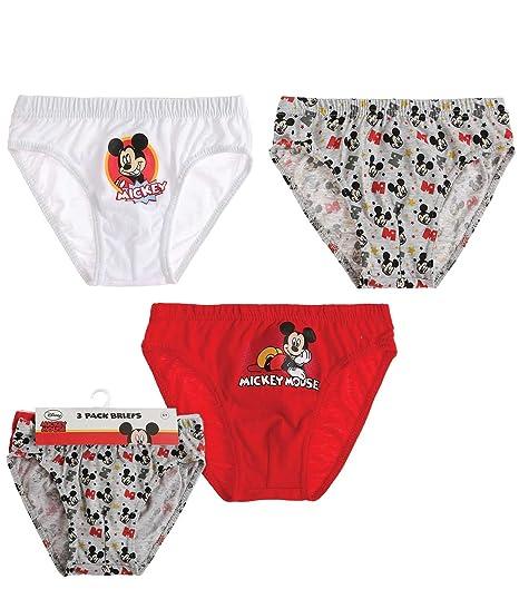 Disney Mickey Chicos Slips (lote de 3) - Rojo: Amazon.es: Ropa y accesorios