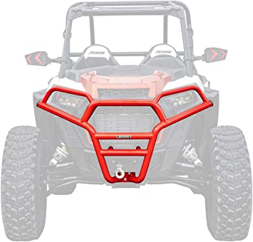 2018+ 100/% Bolt On for Easy Installation! - Red SuperATV Heavy Duty Front Brush Guard Bumper for Polaris RZR XP Turbo S