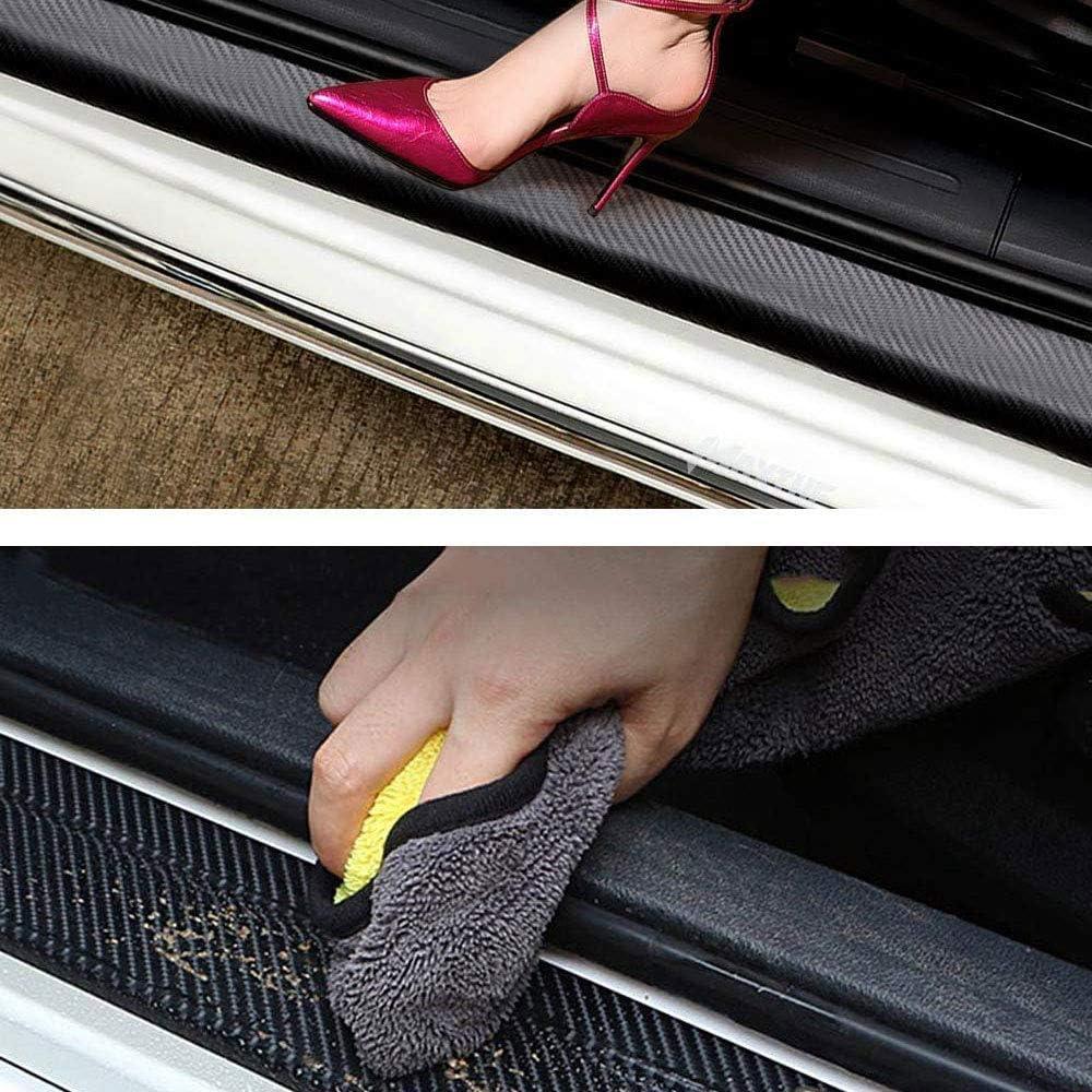 XAYGB 4 Pezzi Protezioni battitacco in Fibra di Carbonio per Opel VIVARO Adesivo sottoporta Auto Adesivo Antiscivolo Striscia di Protezione AntiGraffio Accessori Decorativi
