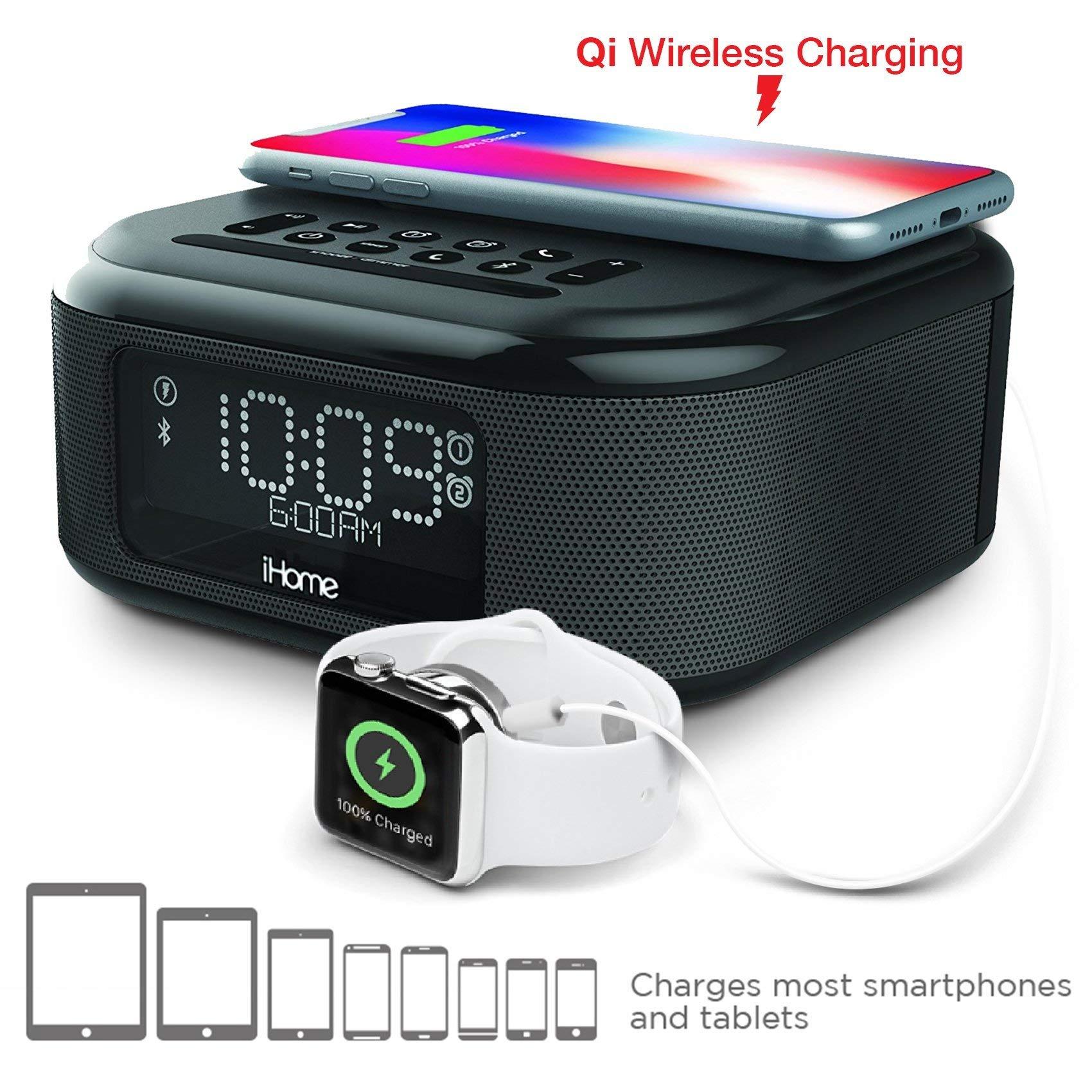 iHome iBTW23 Wireless Charging Bluetooth Alarm Clock with Speakerphone USB Charging Port For iPhone X 8/8Plus More (Renewed)