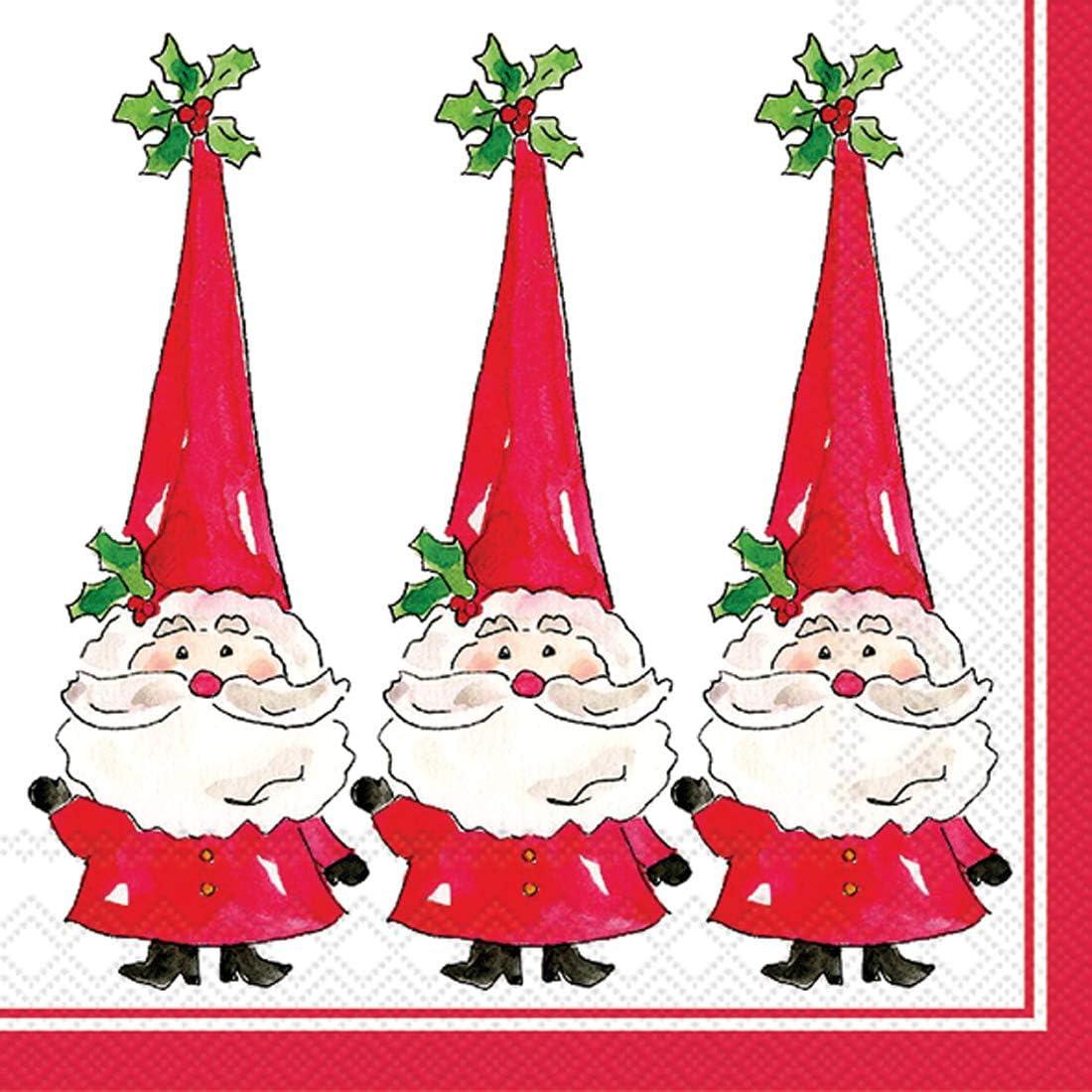 Ideal Home Range 40 Count 3-Ply Paper Beverage Drink Dessert Cocktail Christmas Napkins, Santa