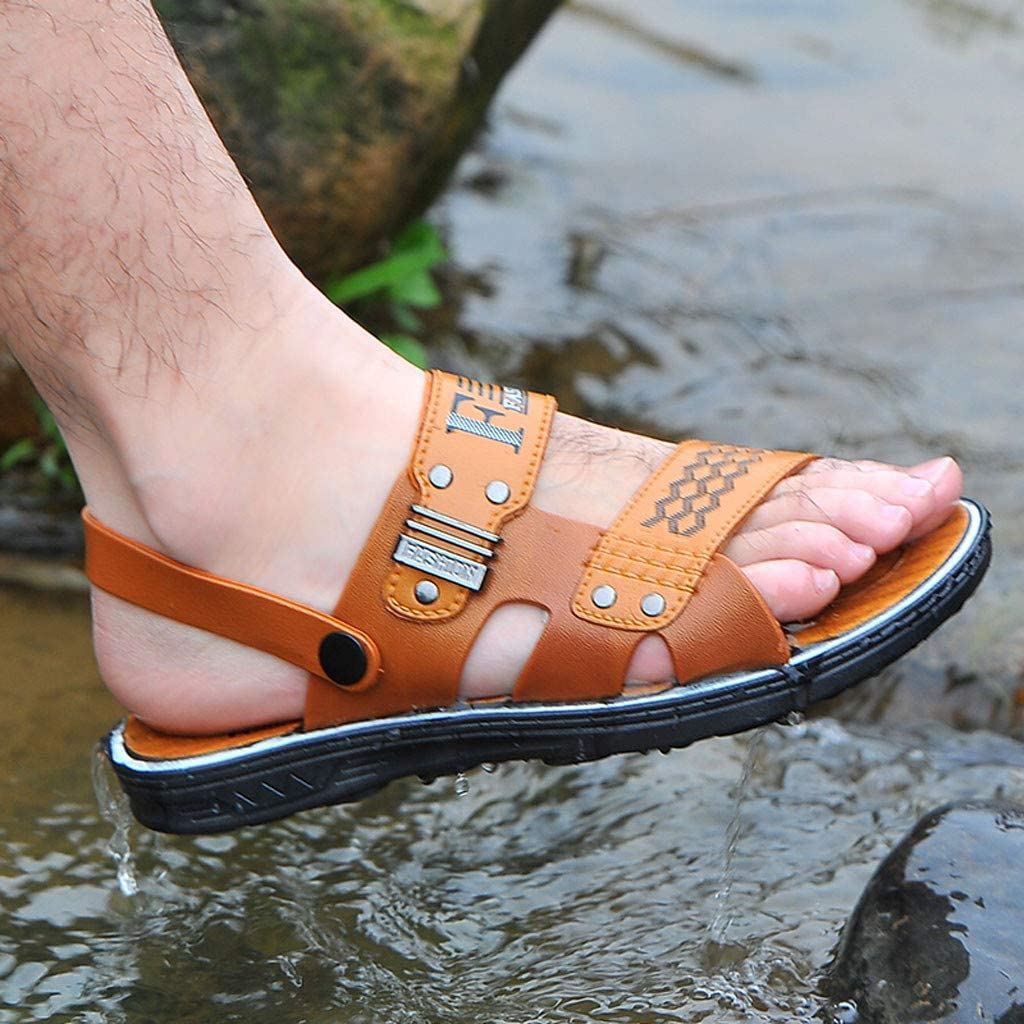 KESEELY Mens Slippers Fashion Outdoor Athletic Platform Water Beach Shoes Hiking Sandal Hollow Out Shoes