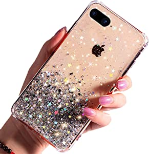 Compatible for iPhone 7 Plus Case, Compatible for iPhone 8 Plus Case, Glitter Luxury Shiny Sparkly Silm Bling Crystal Clear 3D Emboss TPU Protective Girls Women Phone Case (Transparent)