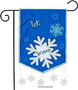 Briarwood Lane Let It Snow Winter Applique Garden Flag Snowflakes Seasonal 12.5