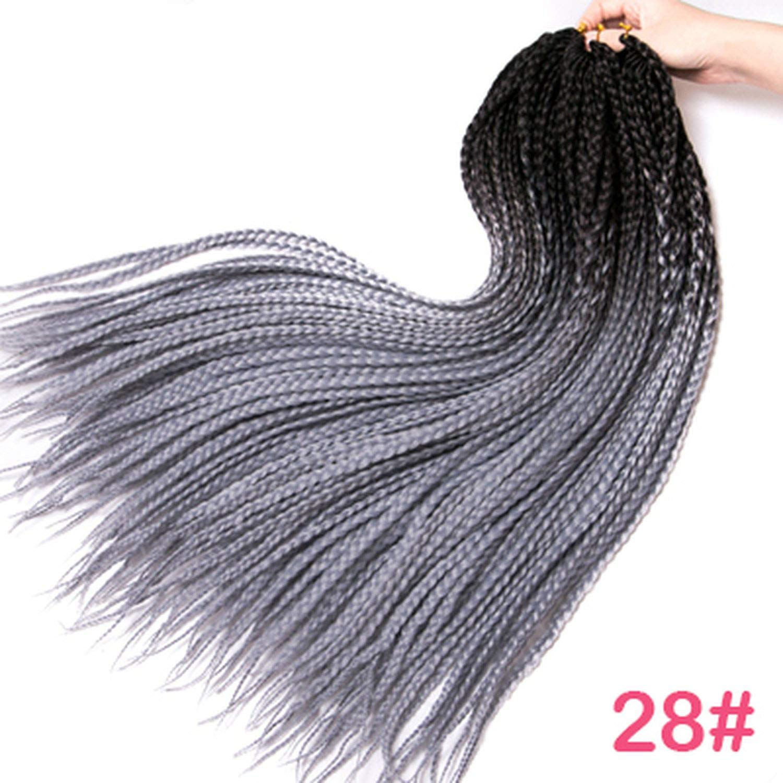 Crochet braids 24 inch box braid 22 Roots/pack Ombre Synthetic Braiding Hair extension Kanekalon Fiber Bulk braid,T1B/Silver Gray,24inches,7Pcs/Lot by Ting room