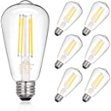 Dimmable Vintage LED Edison Bulbs, 7.5W, Equivalent 60W, 800lm, Bright Daylight White 4000K, ST58 Antique LED Filament Bulbs,