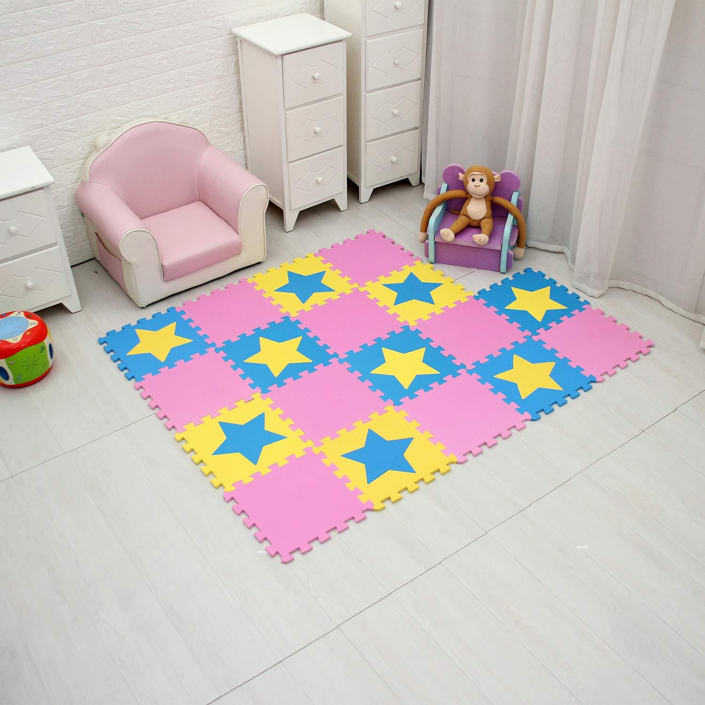 b18N ,Coeur.QQP-27 3 30*30*1cm qqpp EVA Puzzle Tapis Mousse Bebe Id/éal pour Les Tapis De Jeux Enfant,18 Dalles