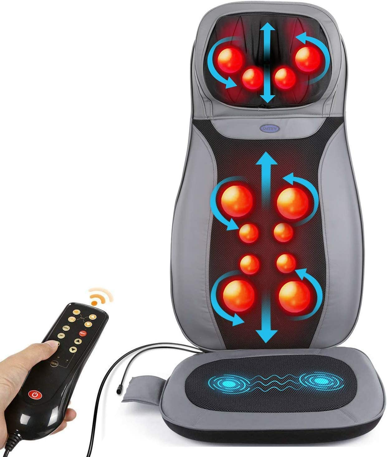 INTEY Shiatsu Neck Back Massage Cushion with Heat, 12 3D-Massage Balls Full Back Kneading Shiatsu or Rolling Massage Chair pad with Height Adjustment, Relieve Muscle Pain for Home, Office or Car
