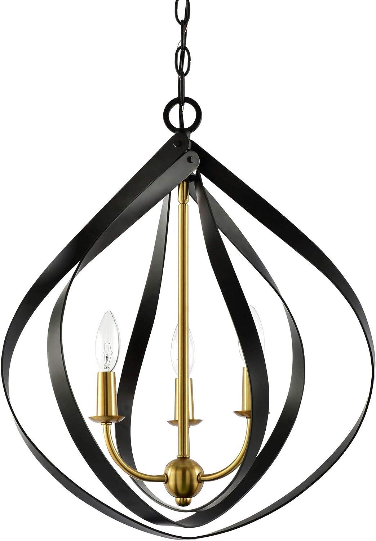 Kira Home Elizabeth 22 3-Light Modern Pendant Light, Warm Brass Accents Black Finish