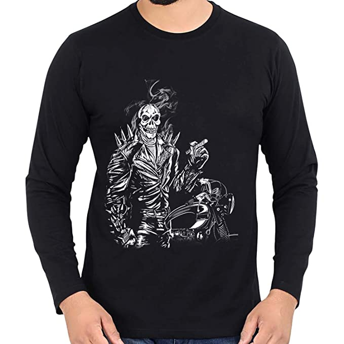 c69deaeec WTFUNK Men's Full Sleeves Motorcycle Riding Smokey Skull Bike Tshirt -  Graphic Print (Medium)