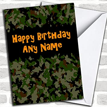 Army Camouflage Customised Birthday Greetings Card Cards Design Amazoncouk Office Products