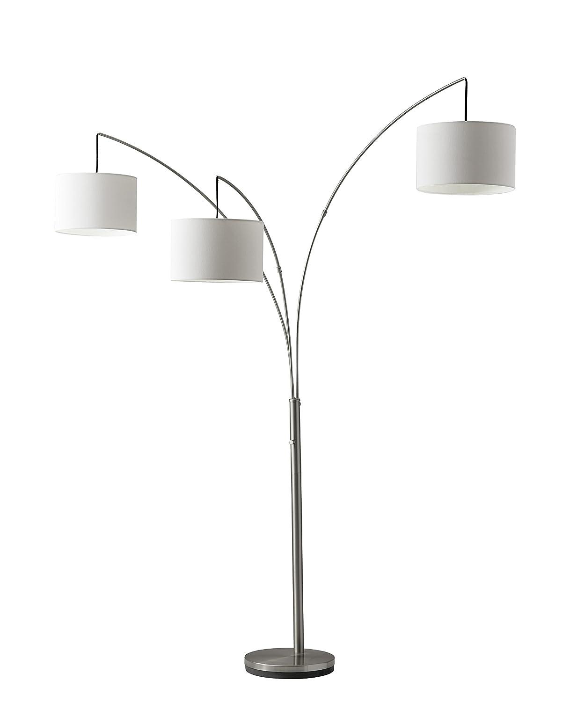Adesso Trinity 3 Arc Floor Lamp – Satin Steel Color, Antique Bronze Finish, Corrosion Resistant, Scratch Proof Lighting Equipment. Home Decor Accessory