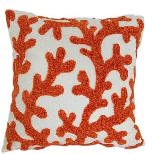 Lona de algodón bordado funda para cojín (Coral) 45 x 45 cm ...