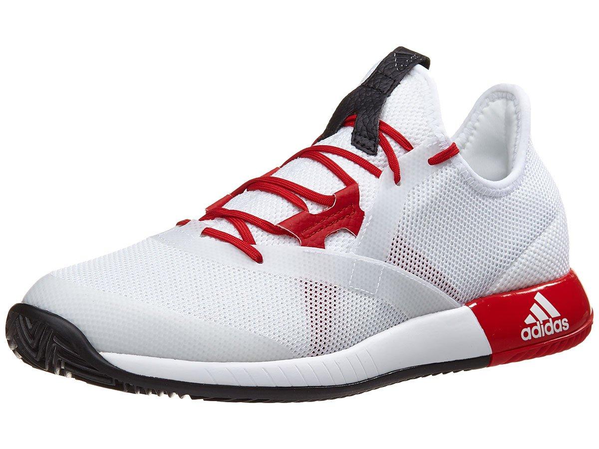 adidas Women's Adizero Defiant Bounce w Tennis Shoe, White/Scarlet/Core Black, 7.5 M US