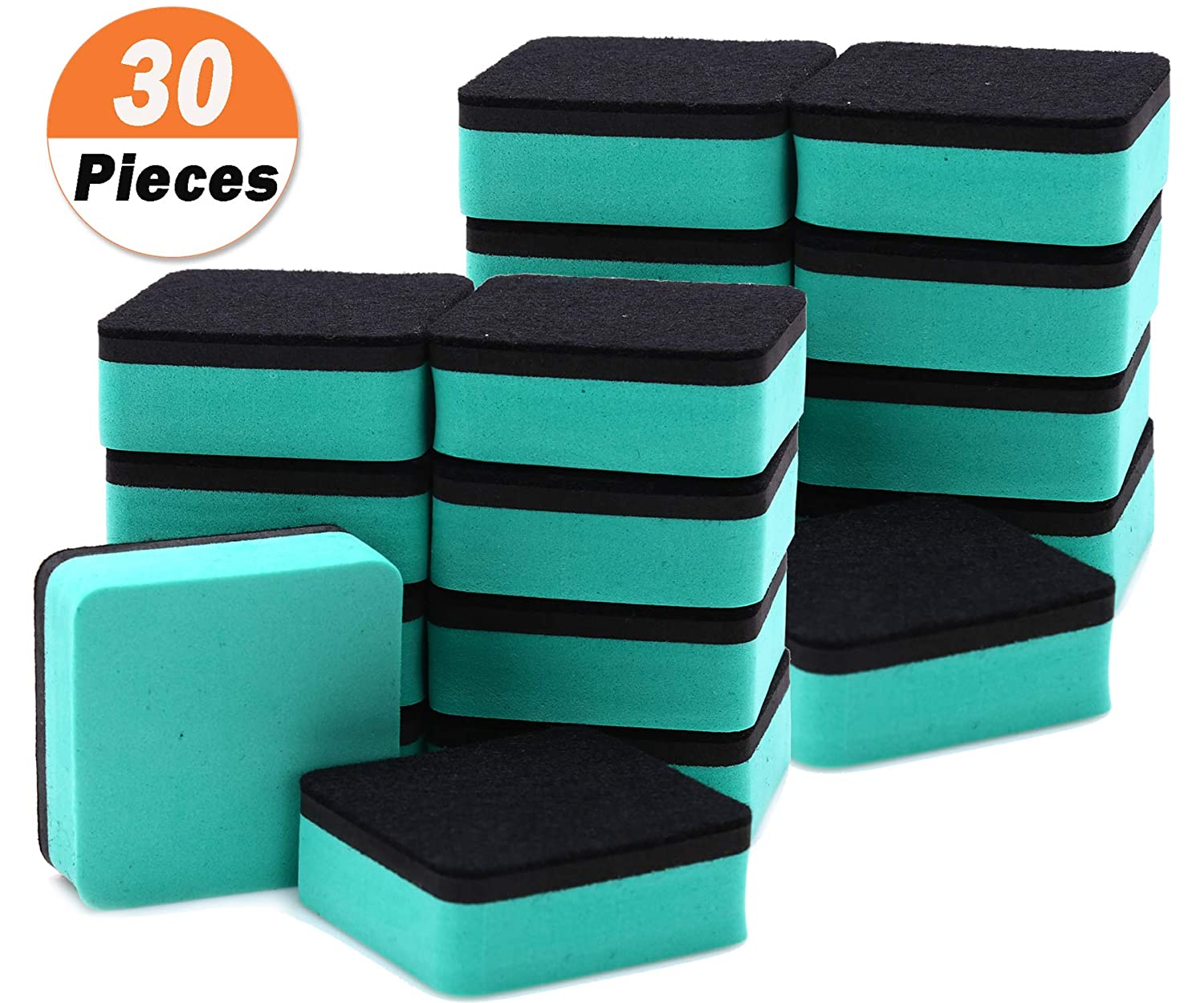 """30 Pack Magnetic Whiteboard Eraser for School Classroom, Office, Home - Buytra Dry Erase Erasers Cleaner for Dry-erase White Board, 1.97 x 1.97"""", Square Shape (Green)"""
