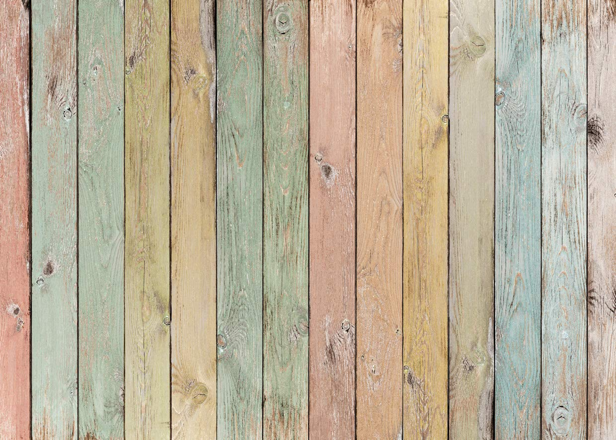 LYWYGG 7x5ft Easter Backdrop Wood Fence Backdrops for Photography Colorful Wooden Texture Background Easter Photo Backdrop CP-171