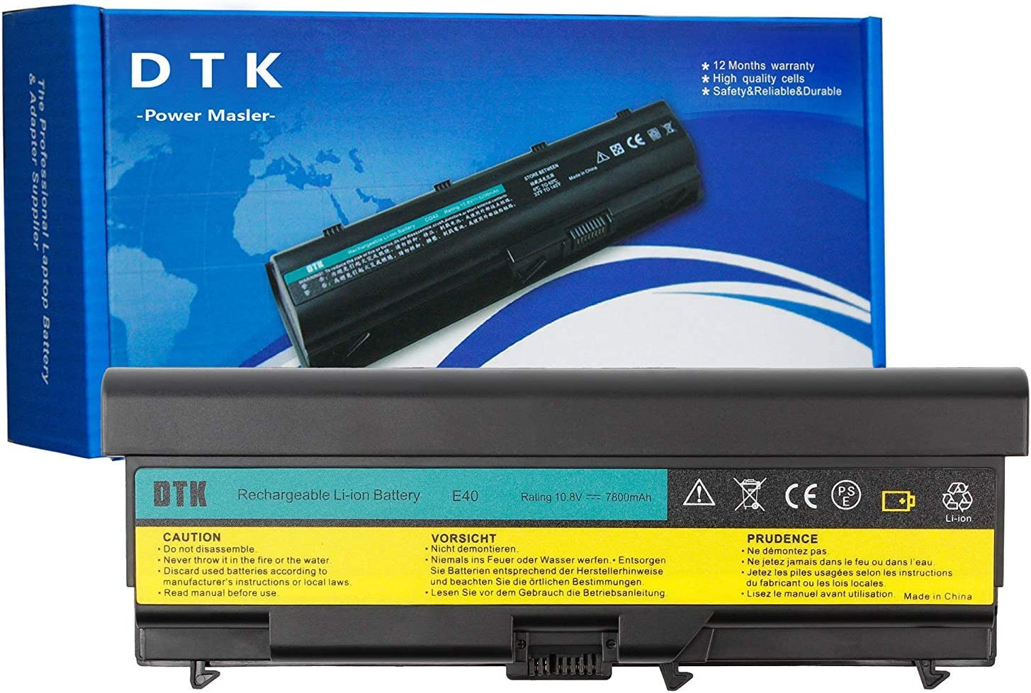 Dtk Extended Laptop Notebook Battery Replacement for Lenovo IBM Thinkpad E40 E50 0578 E420 E425 E520 E525 L410 L412 L420 L421 L510 L512 L520 Sl410 Sl510 T410 T420 T510 T520 W510 W520 10.8V 7800MAH