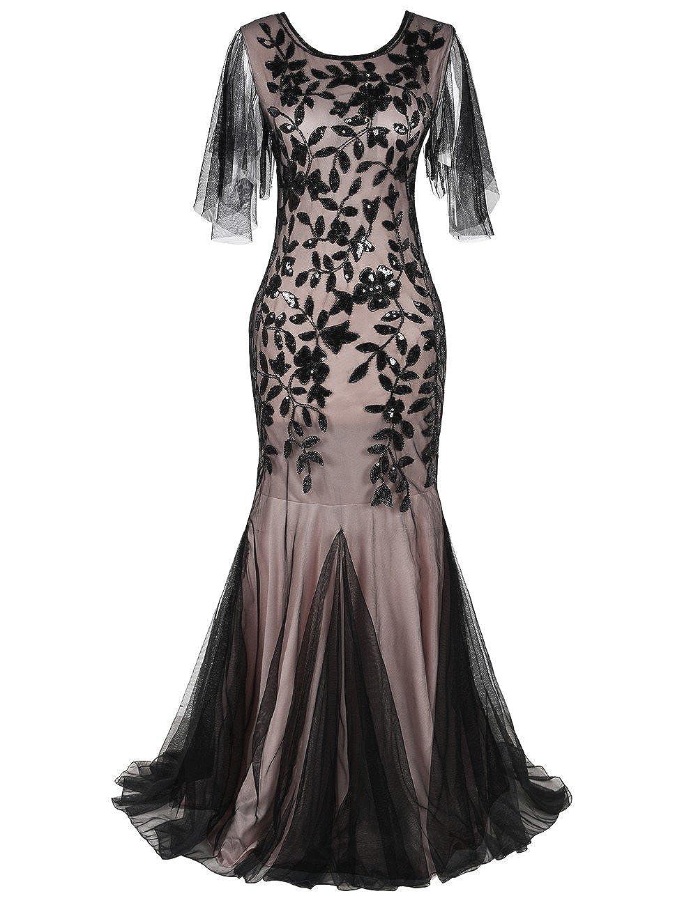 a55f58be9271 kayamiya Women's 1920s Maxi Long Prom Gowns Sequin Mermaid Hem Evening Dress  with Sleeves: Amazon.co.uk: Clothing