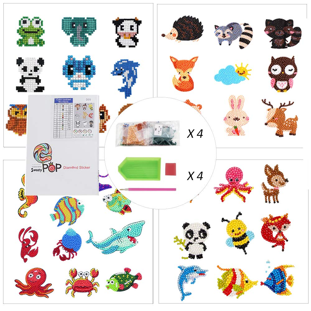 DIY Art Craft Animal Butterfly Painting with Diamonds Paint by Numbers Diamonds for Children Adult Beginners Creatiees 21Pcs 5D Diamond Painting Stickers Kits for Kids Funny /& Colorful