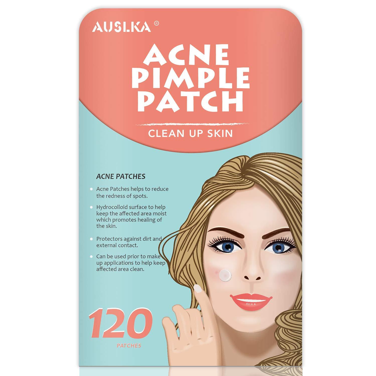 Acne Pimple Master Patch, Acne Spot Treatment, Hydrocolloid Acne Dots for Face (120 Patches) by AUSLKA