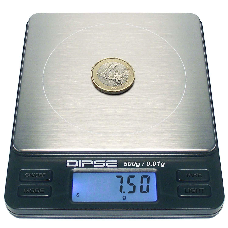 Dipse - Báscula digital de precisión para laboratorio, TP-500 x 0,01, micro báscula digital con una resolución precisa de 0,01 g hasta 500 g / 0,5 kg: ...