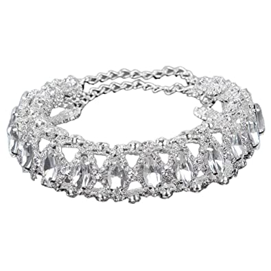 4e7fc4bc86 Amazon.com: Choker Necklace Rhinestone Gothicism Jewelry Full Diamond Noble  Stylish Collar Crystal Brand Pendant Valentine's Day gift Besooly (Silver):  ...
