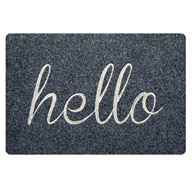 Coloranimal Rectangle Area Rugs Funny Hello Pattern Non Slip Soft Doormat for Inside Outside Front Door Mat Soft Rubber Entrance Rug