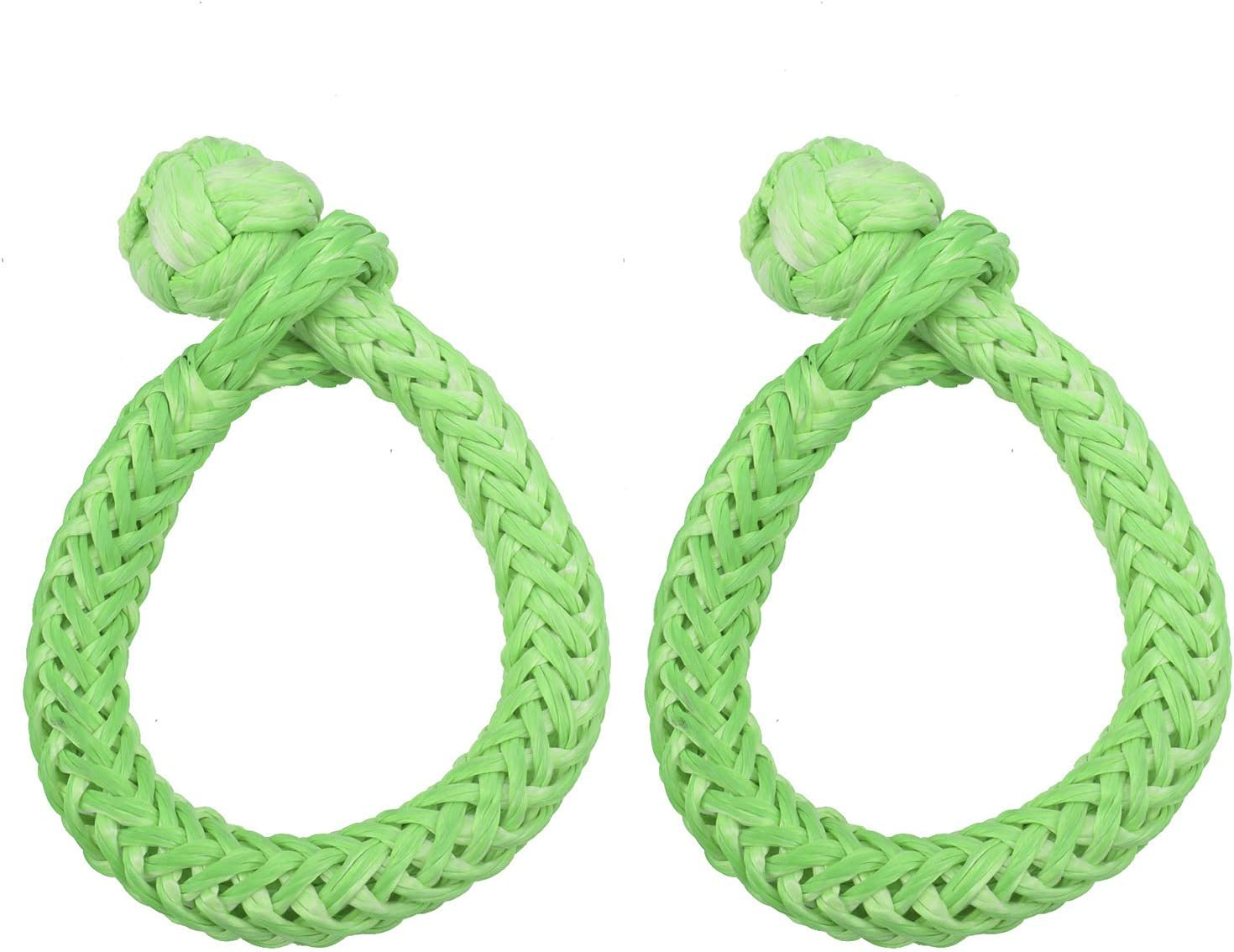 NovelBee 2 Pack of Soft Shackles,UHWMPE 12 Strand Synthetic Rope,Inner core Dia:6mm;Bow Width:100mm Gray